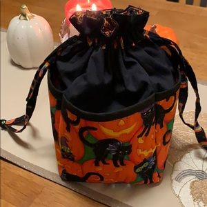 Halloween black cat trick or treat candy bag